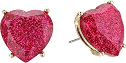 Betsey Johnson - Fuchsia Sparkle Heart Stud Earrings