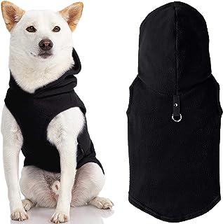 Gooby - سترة صوفية بغطاء رأس، سترة صوفية بغطاء للرأس للكلاب الصغيرة مع حلقة للسلسلة، أسود، كبير