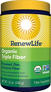 Renew Life Adult Fiber Supplement - Organic Triple Fiber - Dietary Fiber - Dairy & Soy Free - 12 Ounce (Packaging May Vary)