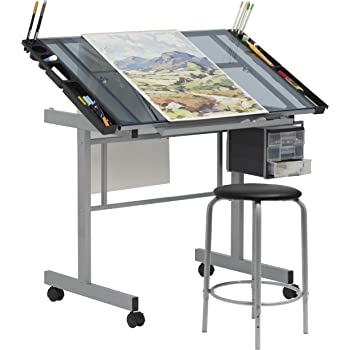 """SD Studio Designs Studio Designs 2 Piece Vision Modern Metal Hobby, Craft, Drawing, Drafting Table, Mobile Desk with 40.75"""" W x 25.75"""" D Angle Adjustable Top in Silver/Blue Glass"""