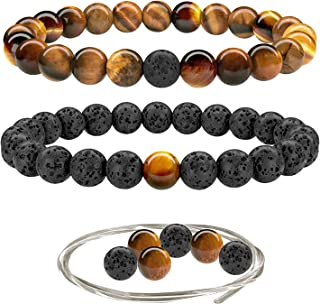 Beaded Gemstone Bracelets for Men and Women: Lava, Onyx and Tiger Eye Bracelet Sets with Spare Beads and Stretch Cord - Mens and Womens Boho Jewelry - 7.25 Inch Bead Bracelet 8mm Beads