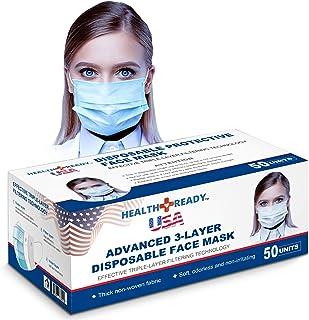 HealthReady USA Advanced 3-Ply Disposable Face Masks, 50 Pack