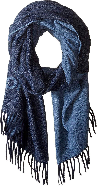 Tory Burch Women's Navy Blue Logo Oblong Wool Scarf