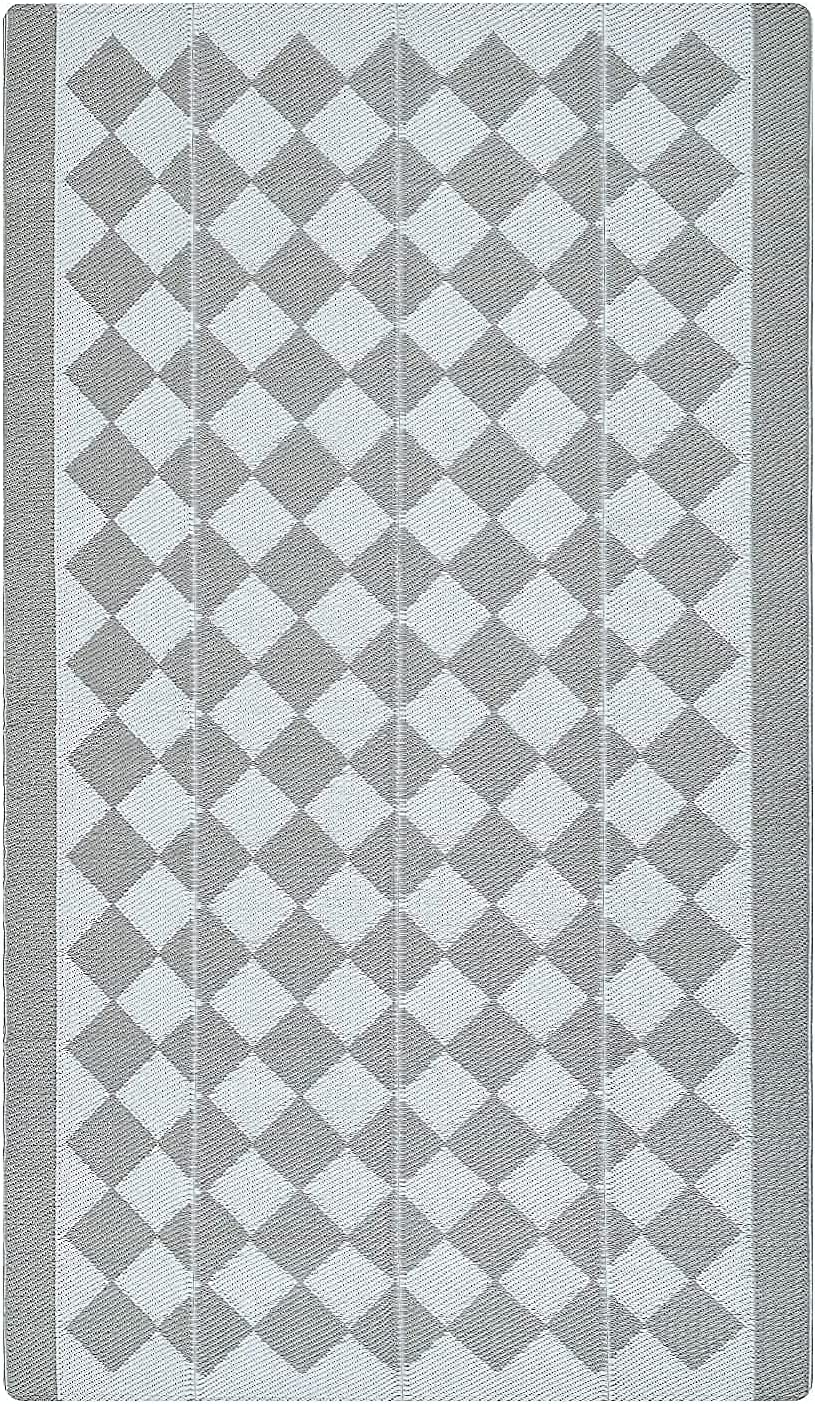 Kurala Reversible Rugs Plastic Patio Area Rugs, Lightweight Outside Mats for Patio, Straw, RV Camping, Beach and Picnic (5x8ft Taupe)