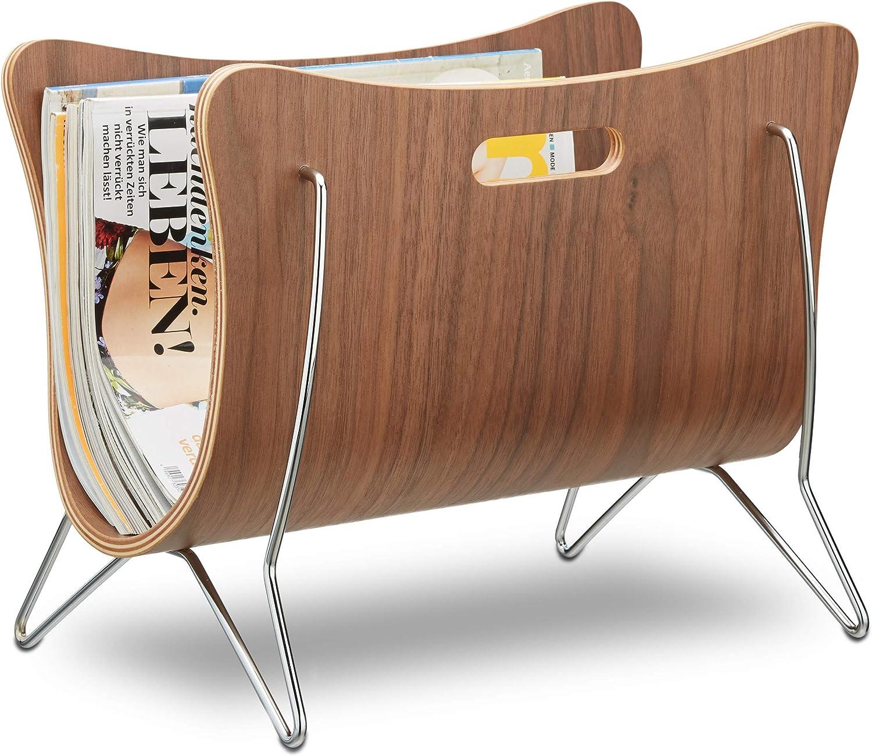 Relaxdays–Revistero Madera, Bug Madera, revistero, Diseño Moderno, Resistente, Asas, HBT 30x 37x 25cm, Color Natural