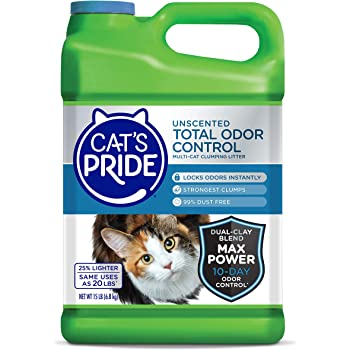Cat's Pride Total Odor Control Premium Clumping Fragrance Free Scoopable Cat Litter Jug, 15-Pound, Grey (47215)