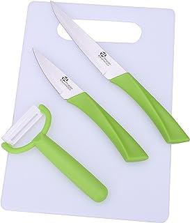 Pradel Excellence - 7417 - Planche à Découper Polypropylène + 2 Couteaux et 1 Eplucheur, Manche Vert Anis