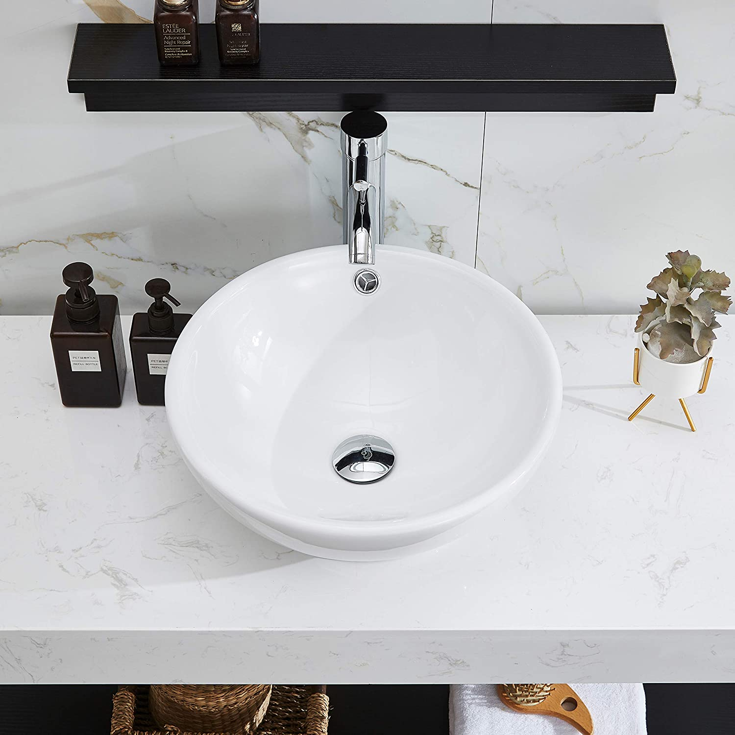 Buy Petushouse Bathroom Vessel Sink And Pop Up Drain Combo Round Above Counter White Porcelain Ceramic Bathroom Vessel Vanity Sink Washing Art Basin Bowl Overflow Type Online In Indonesia B085ky497w