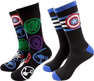 CAPTAIN AMERICA, Pack de 2 calcetines de tripulación con símbolo de rayas y vengadores de Capitán América