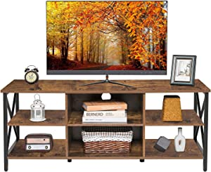 WEENFON TV Stand for 55 Inch TV, Retro Home Media Entertainment Center with 6 Storage Shelves, Industrial TV Console Cabinet for Living Room, Modern TV Stand Table, Rustic Brown