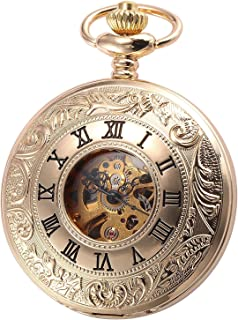 Carrie Hughes Roman Full Hunter Pocket Watch Skeleton Mechanical Hand-Wind Copper And Alloy Case Gold