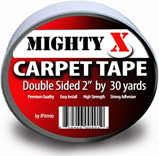 """Mighty""""X"""" Indoor Rug/Carpet Tape Double Sided 30 Yards x 2 Inches - Extra Thick - Heavy Duty by iPrimio"""