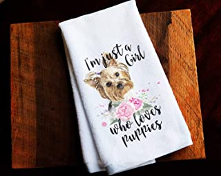 Just a Girl Who Likes Puppies Kitchen Towel Gift for Her