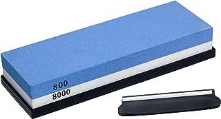 AMN Lifestyle - Juego de piedras afiladoras para cuchillos (grano 800/8000) con guía de ángulo y base de goma antideslizante