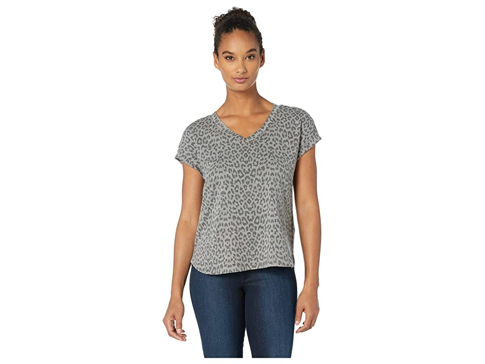 B Collection by Bobeau Printed French Terry V-Neck Tee (Leopard Camo) Women