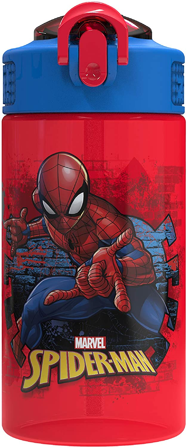 Zak Designs Marvel Kids Spout Cover and Built-in Carrying Loop Made of Plastic, Leak-Proof Water Bottle Design (16 oz, BPA-Free, Spider-Man)