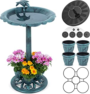"""BetterGalaxy Bird Bath for Outdoors with Solar Powered Fountain - 30"""" Tall Antique Backyard Decor with Flower Planters, Ou..."""