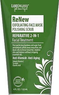 Exfoliating Face Mask & Scrub; Organic 2-IN-1 Facial Treatment for Smooth, Glowing Skin. AHA Glycolic Acid, Turmeric, & Vi...