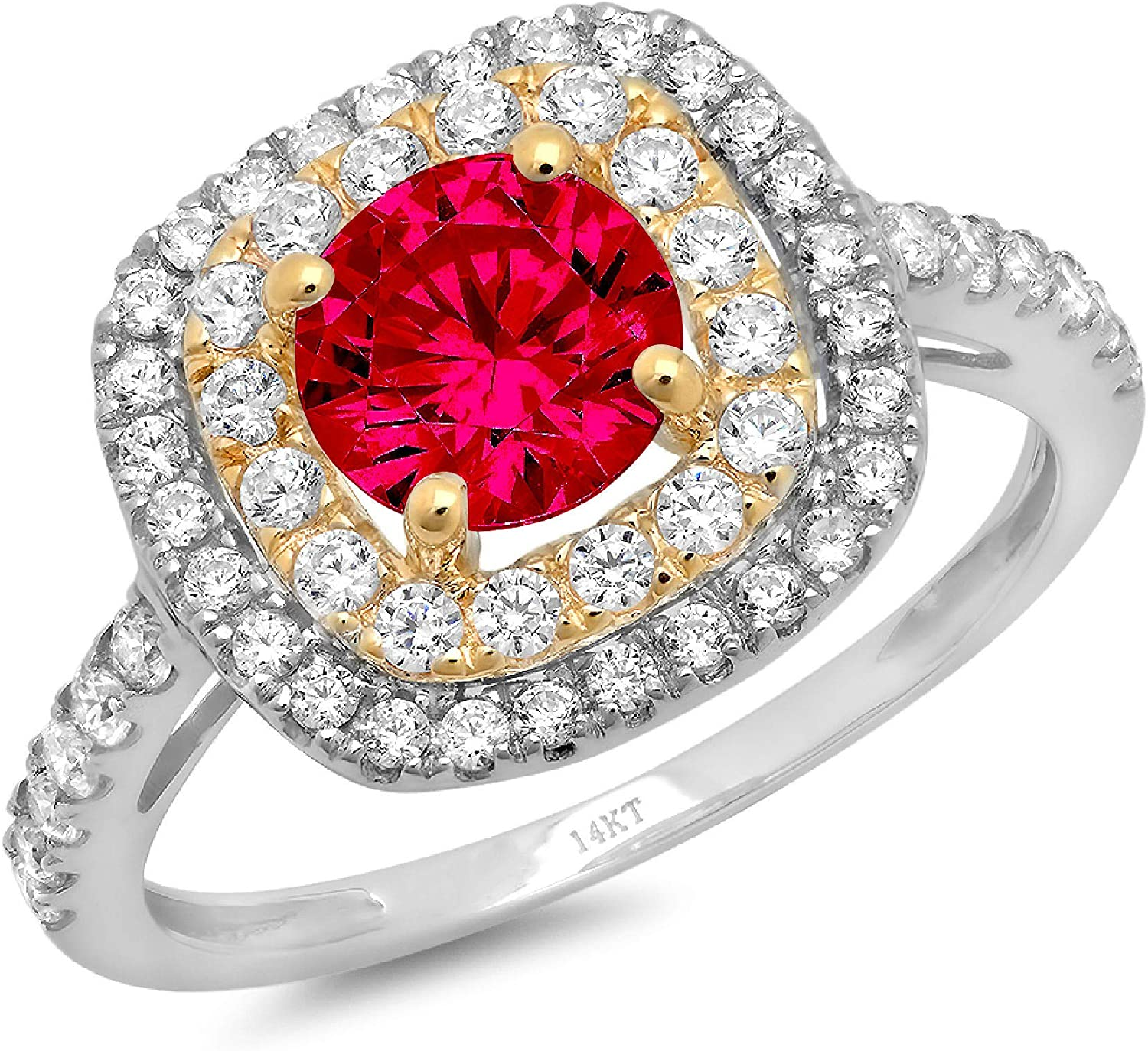 1.8 ct Round Cut Solitaire accent double Halo Stunning Genuine Flawless Simulated Pink Tourmaline Modern Promise Statement Designer Ring 14k White & Yellow Gold