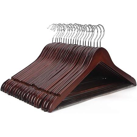 JS HANGER Multifunctional High Grade Solid Wooden Suit Hangers, Coat Hangers, Walnut Finish, 20-Pack