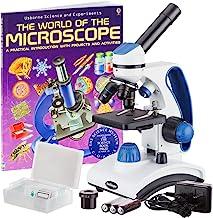 """AmScope M162C-2L-PB10-WM""""Awarded 2018 Best Students and Kids Microscope Kit"""" - 40X-1000X Dual Light All Metal Microscope w..."""
