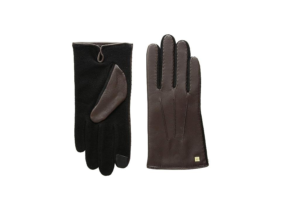 LAUREN Ralph Lauren Stitched Hybrid Touch Gloves (Brown) Wool Gloves