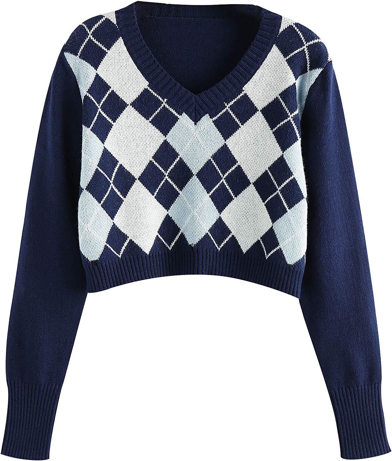 Sweaters for Women half Casual Sales results No. 1 Argyle Long Sleeve Leisure Vin Pattern