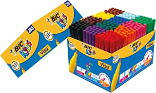 BIC Kids Visa Feutres de Coloriage à Pointe Fine - Couleurs Assorties, Classpack de 288