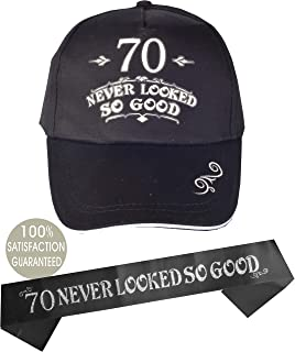 70th Birthday Hat and Sash Men, 70 Never Looked So Good, Baseball Cap Black, 70 Never Looked So Good for 70th Birthday for Men, 70th Birthday Party Supplies Gifts and Decorations