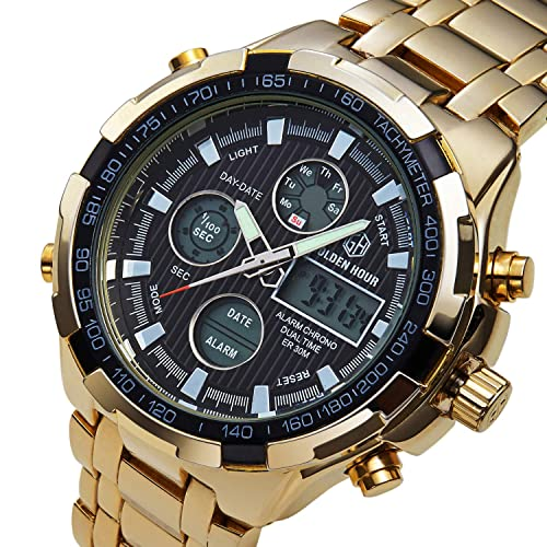 8607a53fb Men's Sports Analog Quartz Watch Dual Display Waterproof Digital Watches  with LED Backlight Multifunctional Large Wrist