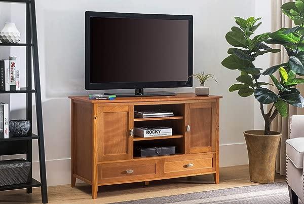 2L Lifestyle Hillcrest 52 Tv Media Stand Large Honey Brown