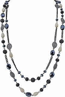 Black clear and neo crome beaded necklace