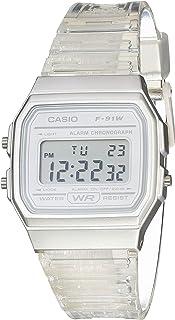Quartz Watch with Resin Strap, Clear, 20 (Model: F-91WS-7CF)