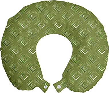 Ambesonne Olive Green Travel Pillow Neck Rest, Grunge Geometric Pattern Square Shape Diagonal Abstract Rhombus, Memory Foam T
