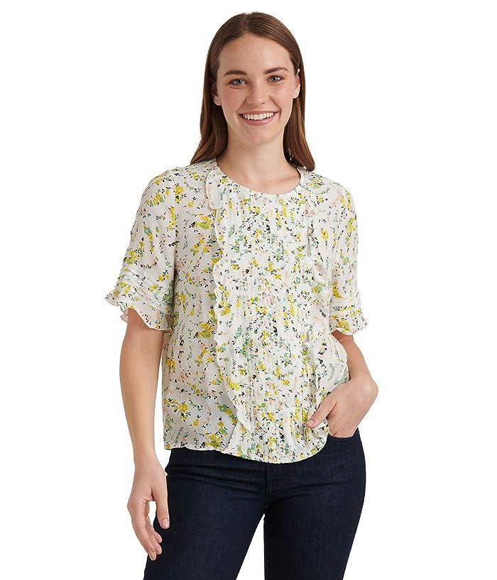 Lucky Brand  Short Sleeve Crew Neck Skylar Pin Tuck Top (Natural Multi) Womens Clothing