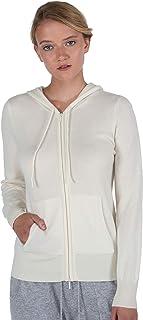 Women's 100% Pure Cashmere Long Sleeve Zip Hoodie...