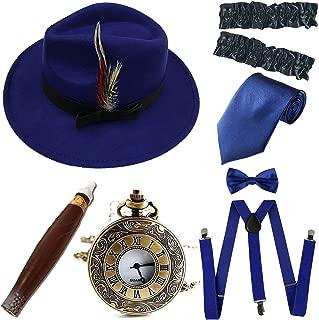 1920s Trilby Manhattan Fedora Hat, Plastic Cigar/Gangster Armbands/Pocket Watch,Suspenders,Pre Tied Bow Tie,Tie