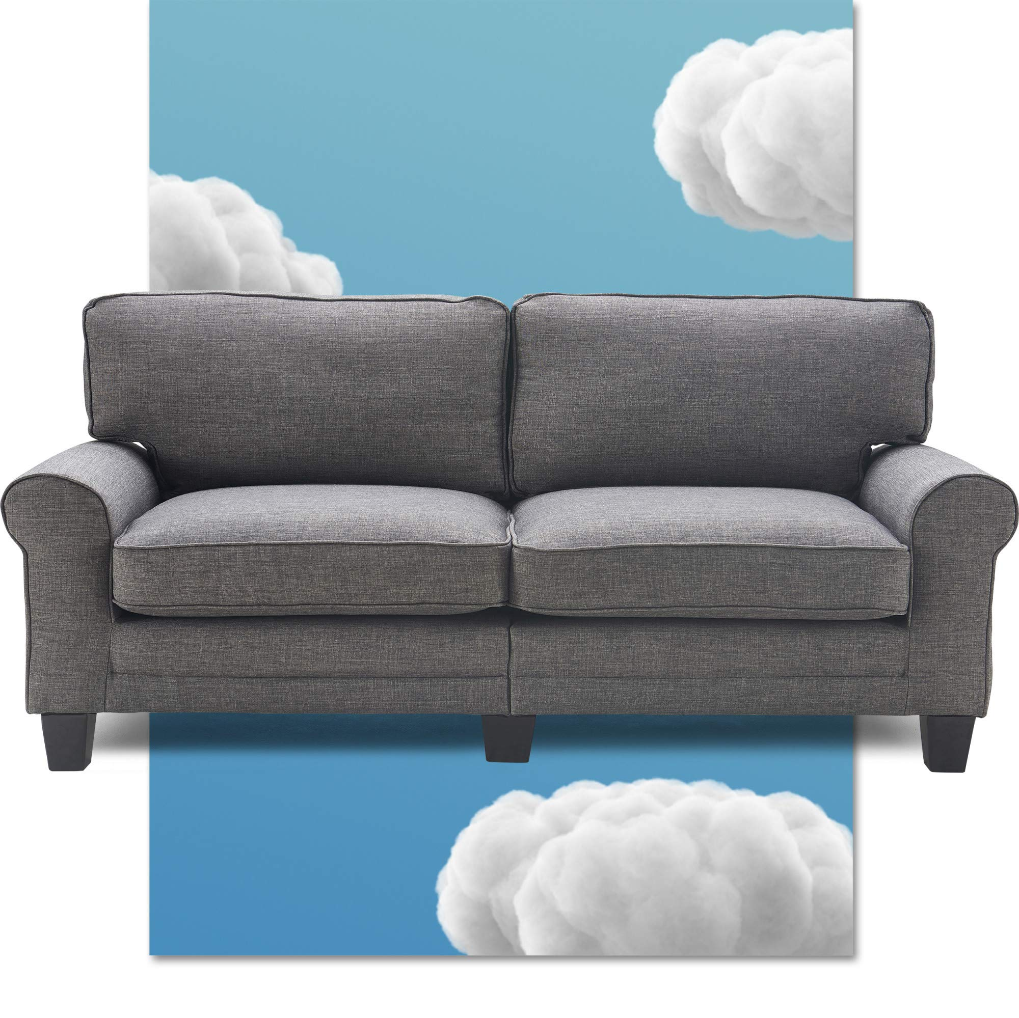 """Serta Copenhagen 78"""" Sofa - Pillowed Back Cushions and Rounded Arms, Durable Modern Upholstered Fabric - Gray"""