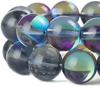 RUBYCARoundMoonstoneCrystalGlassBeadsAuraIridescentfor Jewelry Making(1Strand,8mm,Grey)