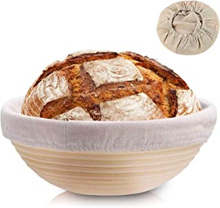 Clheatky Gärkörbchen Rund, ø 25 cm, Höhe 8.5 cm Gärkorb Set Aus Natürlichem Peddigrohr Proofing Basket Brotkörbchen Brotform für Brot Backen Fasst 1kg Teig mit 1 LeineneinsätzeRund