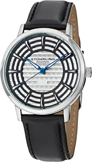 Stuhrling Original Colosseum Men's Quartz Watch With Silver Dial Analogue Display and Black Leather Strap 398.33151