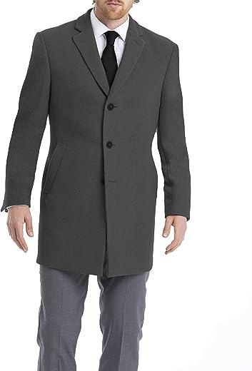 معطف رجالي مصنوع من مزيج من الصوف بتصميم ملائم ضيق من كالفن كلاين