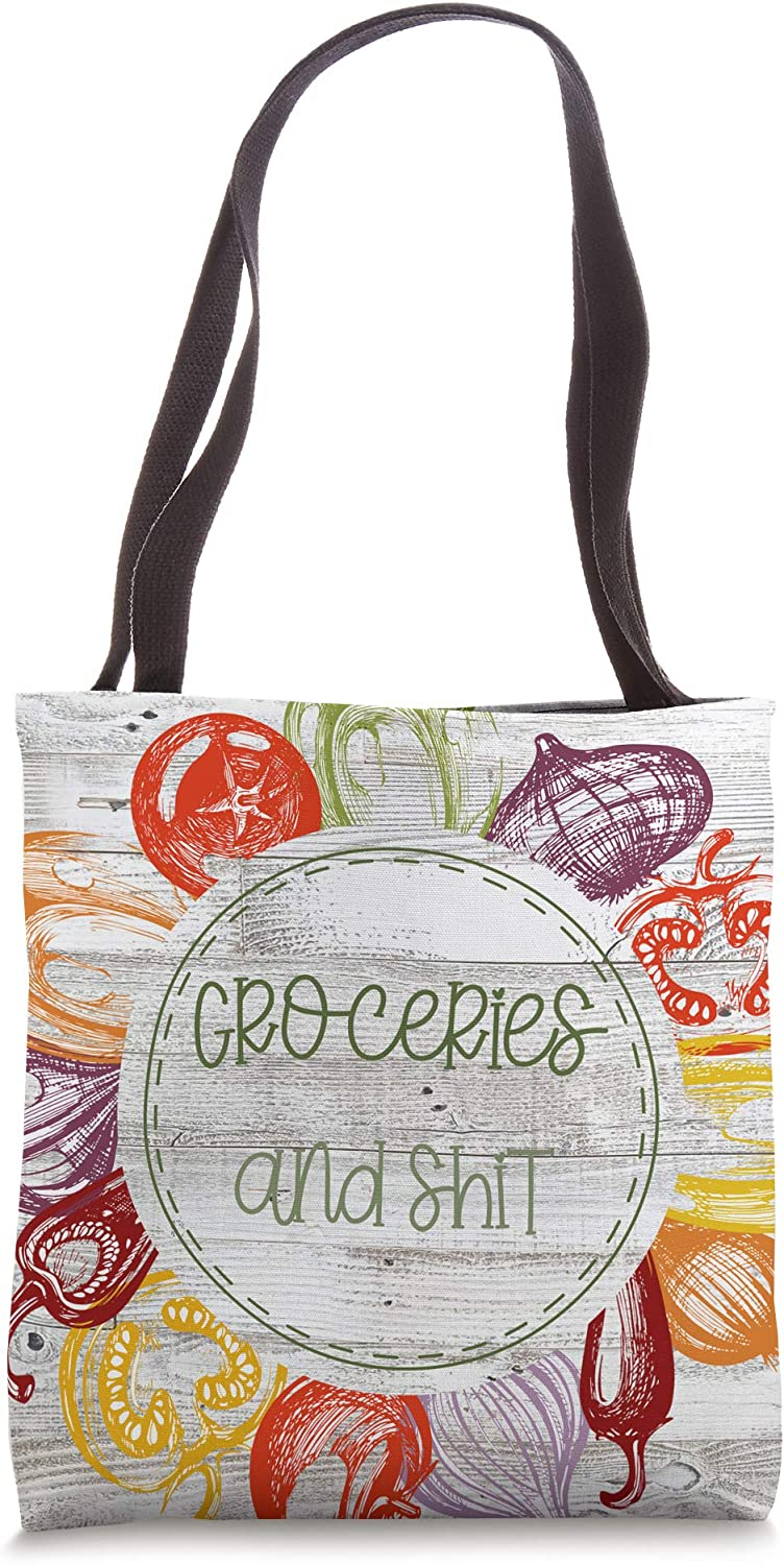 Groceries and Shit Reusable Shopping Tote Bag Farmers Market Tote Bag