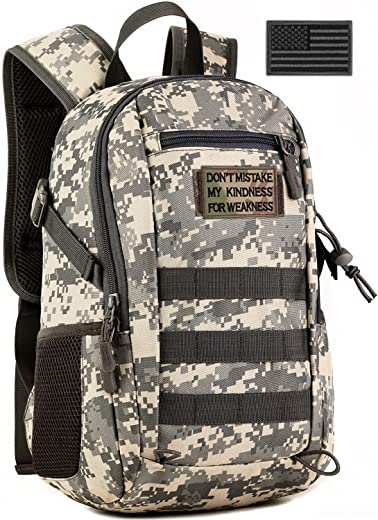 SunForMorning Small Tactical Backpack Military School Outdoor Daypack Army Assault Pack Bug Out Bag Cycling Hiking Camping Rucksack (Patch Included), ACU