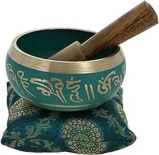 Thanksgiving Black Friday Gifts Buddhist Meditation Singing Bowl Tibetan Decor Art Green Diameter 4 Inches