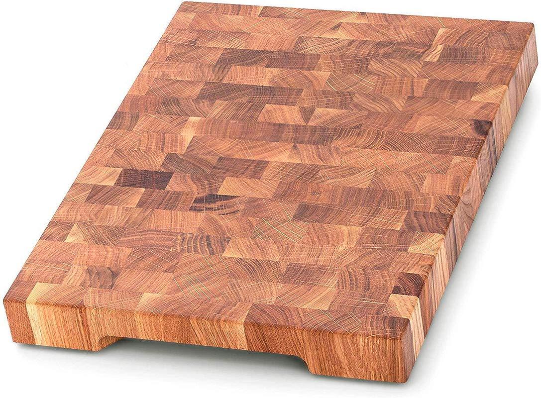 End Grain Wood Cutting Board Wood Chopping Block Large Cutting Board 16 X 12 Kitchen Butcher Block Oak Cutting Board Non Slip Cutting Board With Feet Kitchen Wooden Chopping Board
