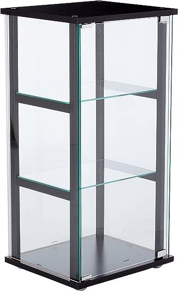 月货架玻璃装饰柜黑色和透明