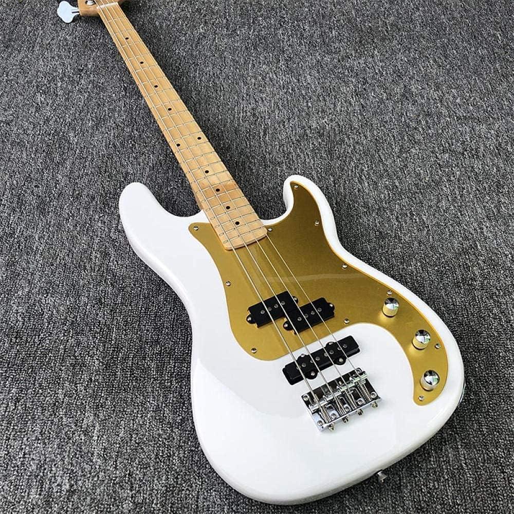 XLAHD Guitarra Bajo eléctrico de 4 Cuerdas Bajo de Pintura Blanca Guitarras de Cuerdas de Acero acústicas Doradas Guitarra eléctrica (Color: Guitarra, Tamaño: 43 Pulgadas)