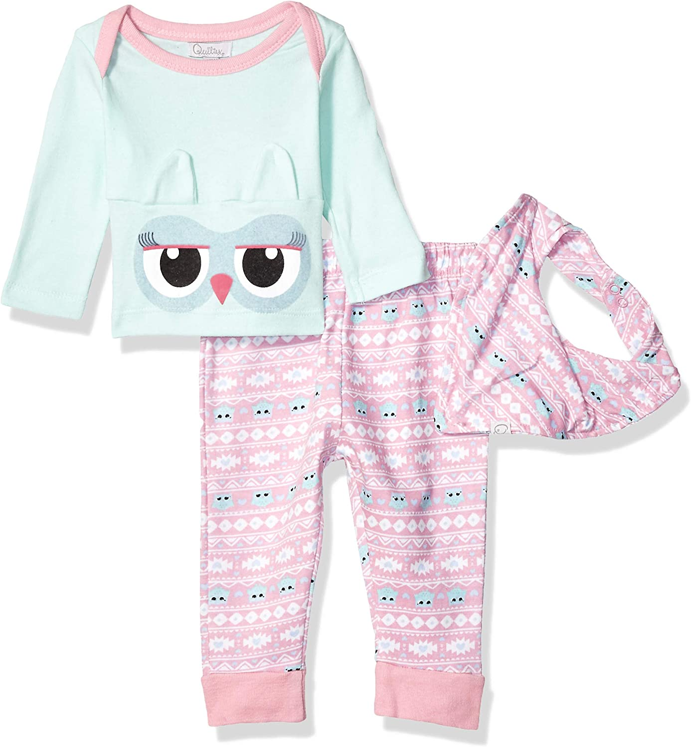 Quiltex girls Owl Love You Footed Pants, Top, and Bib 3pc Set