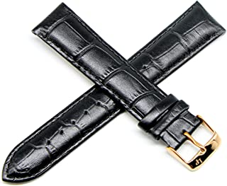 Lucien Piccard 20MM Alligator Grain Genuine Leather Watch Strap 8 Inches Black Rose Gold Fits Grivola Ortlet
